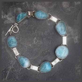 Superb 7 Stone Sterling Silver Larimar Bracelet